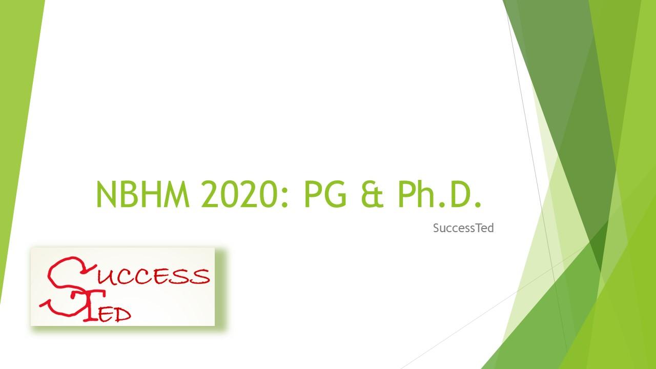 NBHM 2020: PG & Ph.D.