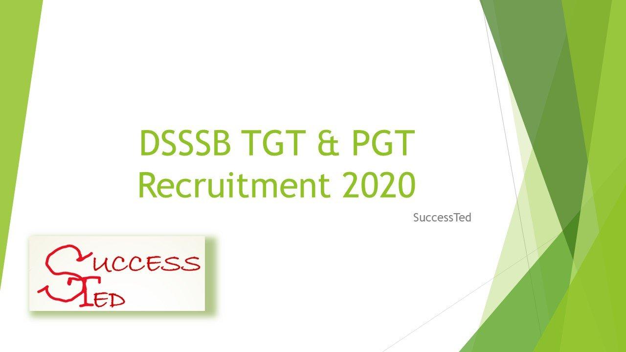DSSSB TGT & PGT Recruitment 2020